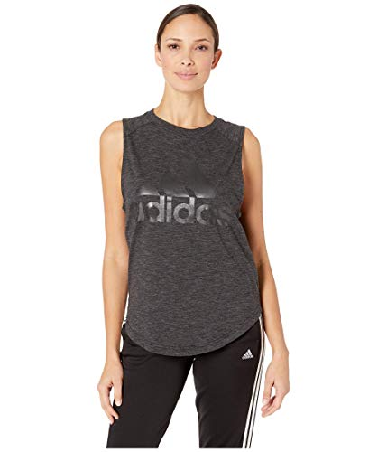 adidas womens ID Winners Muscle Basketball Long Length Sleeveless Training Tank T-Shirt, Black/White, Medium