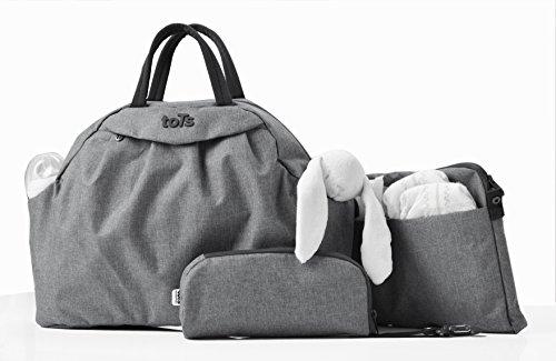 Wickeltasche Chic, grau, Bag in Bag, 45x14x32cm, viele Accessoires