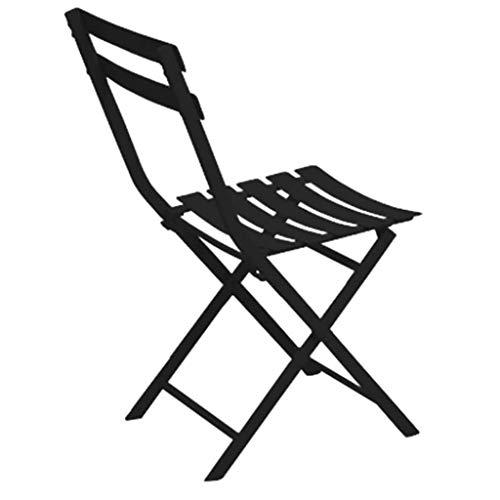 ZZFF Patio Bistro Klappstuhl,Faltbarer Essstuhl Aus Stahl,Outdoor-freizeitstuhl-seitenstuhl Für Garten Hinterhof Pub Event-Stuhl Schwarz 40.5x44x80.5cm(16x17x32inch)