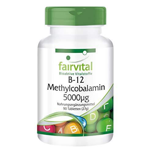 Vitamina B12 sublingual Metilcobalamina - 90 Comprimidos - Altamente concentrada (5000mcg) - Calidad Alemana