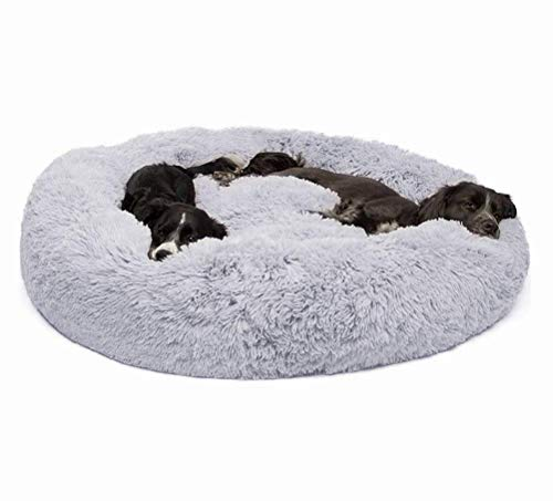 ZXLLO Hundebett Katzenbett rutschfeste Unterseite Runde Form Weiches Donut-Haustierbett Verschiedene Größen Flauschig Hundebett Gepolstert Katzenbett mit Kissen ideal,XXXXL:120 * 120CM