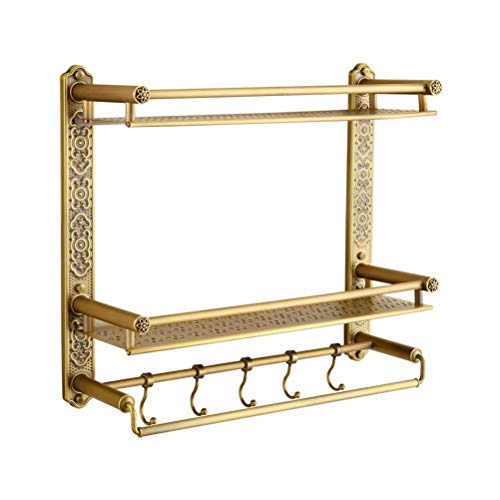 Buy ZHANMAM 2-Tier Bathroom Shelves, Shower Caddy Bath Basket Storage Shelf, Homeself Brass Wall Mou...