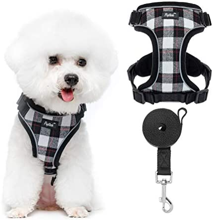 Puppy Harness and Leash Set Reflective Small Dog Vest Harness for Walking Classic Plaid Harness product image