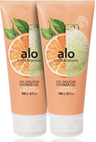 (FRUITS & PASSION) SHOWER GEL [ORANGE CANTALOUPE] 200ML 2 pcs Bundle, Shower Gel with vitamin E and Antioxidant product, biodegradable formula (200ML / 6.76 Fl. Oz) by ALO