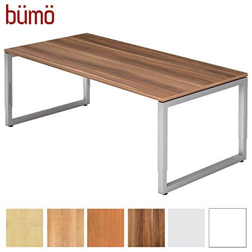bümö® massiver Schreibtisch höhenverstellbar   Bürotisch extrem massiv & stabil   Büroschreibtisch Tisch für Büro in 4 Größen & 6 Dekoren (Zwetschge, 200 x 100 cm)