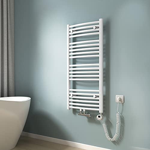 EMKE Elektrisch Handtuchheizkörper mit Thermostat Handtuchtrockner Zentralanschluss Handtuchwärmer, Gebogen Weiß 100x50cm (500 Watt)
