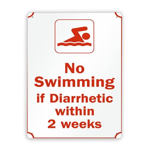 Señal de advertencia,Las reglas de la piscina indican que no se puede nadar si hay diarrea en 2 semanas,Señal de tráfico Señal de carretera Señal de empresa 12x16 Inch