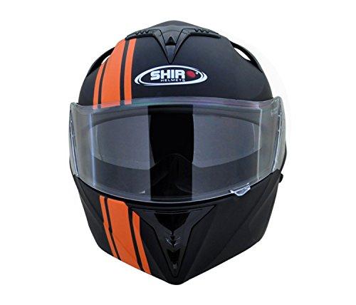Shiro SH-119 Flip-up Full Face Helmet (Matte Black & KTM Orange,L)