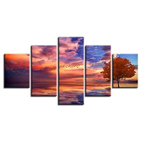 Marco Imágenes de paisajes Decoración de impresión HD Sala de estar 5 piezas Bandas de pájaros Árbol rojo Nube Pintura de la lonaCartelmodularArte de la pared 40 * 60cm 40 * 80cm 40 * 100cm