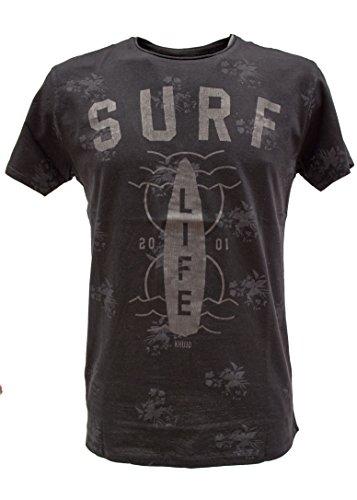 khujo Herren TROTTEM Printed Jersey Short T-Shirt, Schwarz (Black 200), Small (Herstellergröße:S)