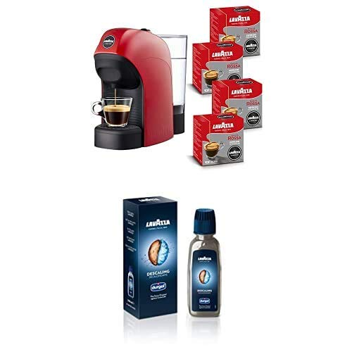 Lavazza A Modo Mio, Macchina per Caffé Espresso Tiny con 64 Capsule Incluse, Rossa con Liquido Decalcificante
