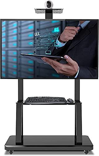 Soporte de piso para TV móvil, compatible con soporte de pantalla de TV de 32 a 75 pulgadas con ruedas y estante para cámara AV (color negro)