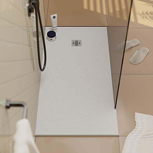 Piatto doccia in resina Ebro - Effetto ardesia e antiscivolo - Finitura opaca - Disponibile in tutte le dimensioni - Include sifone e griglia - Bianco RAL 9003-70 x 70