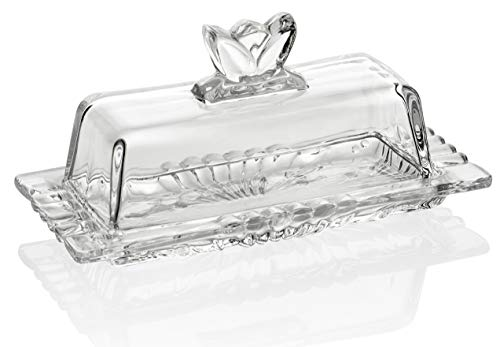 Bezrat Glass Butter Dish | Premium Butter Dish with Lid and Easy Grip Handle | Easy to Use and 100% Food Safe - Dishwasher Safe | Flower Addition