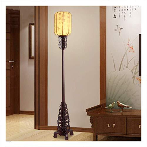 DFJU Lámparas de pie y antorchas Lámpara de pie LED, Sala de Estar, Estudio, Dormitorio, lámpara Vertical, lámpara de pie Oriental clásica de Madera Maciza