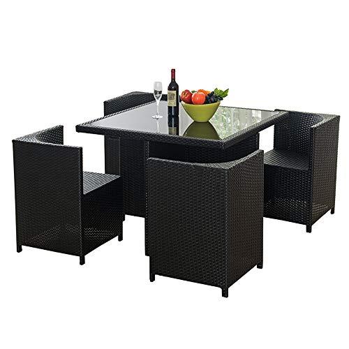 ZHFC Rattantische und Stühle, 5-teiliger Esstisch und Stühle, Tische und Stühle aus geflochtenem Glas, Balkon Freizeit Rattanmöbel Villa Terrasse Gartenstühle