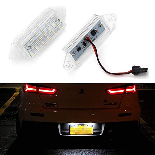 iJDMTOY OEM-Fit 3W Full LED License Plate Light Kit Compatible with 2001-17 Mitsubishi Lancer & Evolution X, Powered by 18-SMD Xenon White LED