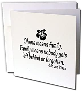 3dRose Ohana Means Family. Greeting Cards, 6 x 6 Inches, Set of 6 (gc_163985_1)