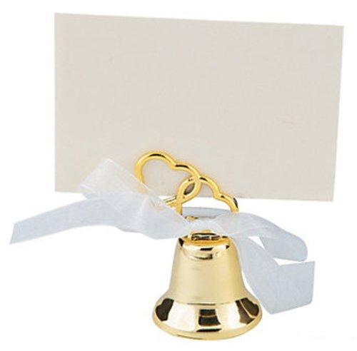 Gold Wedding Bell Favor, Wedding Placecard Holder (3 dozen)