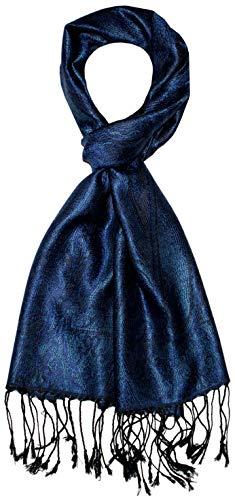 Lorenzo Cana Bufanda de seda para hombre, 100 % seda, elegante estampado de cachemira, tono sobre tono. azul Talla única