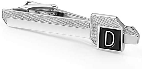 HAWSON A Z Initial Tie Clips for Men 2 inch Silver Color Rasied Letter A Z with Black Background product image