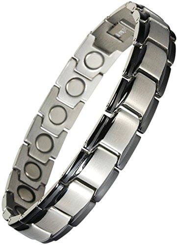 Original YINGA-VITAL® Magnetschmuck Herren Armband. Extrastarke 4000 Gauss Magnete. 18 Magnete. Magnetarmband in Stil Bicolor Silber-Schwarz, Länge 21,5cm