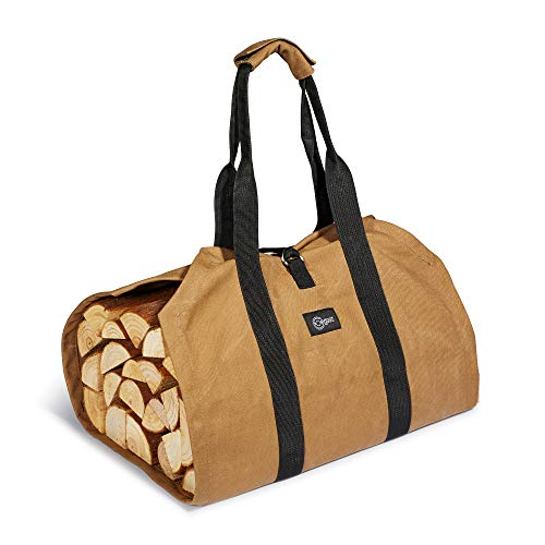 Egooz Waxed Canvas Firewood Log Carrier Tote Bag 39quot X 175quot,16oz Waxed Canvas Large Capacity Strong Handles  Security Lock Waterproof Dirt Resistant and AntiScratch Brown