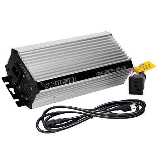VIVOSUN 400 Watt Dimmable Electronic Digital Ballast w/Enhanced Internal Fan Cooled Operation 25% Less Heat Generated for 15% Longer Service Life