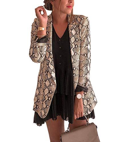 Mujeres Piel de Serpiente Impresión Outwear Tops Jacket Cárdigans Moda Manga Larga Ropa de Abrigo Chaquetas de Traje y Blazers Coat