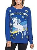 Women's Funny Unicorn Hanukkah Sweater - Jewnicorn Jewish Holiday Sweater: X-Large Blue