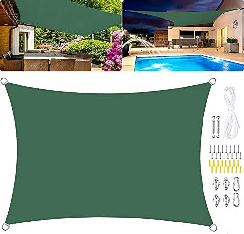 HYLX Toldo rectangular de vela de poliéster, impermeable, para jardín, 95 % UV Block Toldo PU impregnado al viento, kits de fijación, color verde oscuro