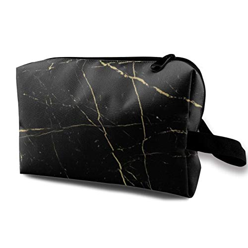 XCNGG Cosmetic Bag Large-Capacity Toiletry Pouch Soft Travel Makeup Bags Black Gold Marble