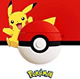 AirPods Case Soft Silicone Shockproof Cover for Apple Airpods 2 1,Poke Ball Pokemon Pikachu 3D Cartoon Unique Design Skin Kits Cases with Carabiner Holder for Girls Teens Air Pods (Poke Ball)