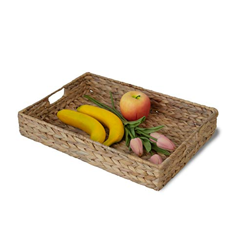 Wicker Serving Trays with Insert Handles, Handwoven Rectangular Serving Platter Trays for Coffee, Breakfast, Bread, Food, Dish and Decorative Trays for Dining Table 16.5'x11.8'