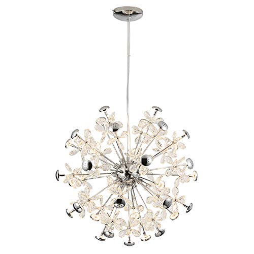 HYPPT Luxury Orb Round Crystal Chandelier,Modern Dining Room Petal Ceiling Lights Fixtures G4 Adjustable Pendant Lighting For Living Room Girls Room Bar-Loth 12 head