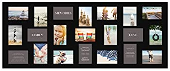 Gallery Solutions 10FW149E 19  x 48  Wall Hanging Picture Holds 21 Photos Collage Frame 4  x 6  Black