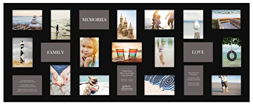 Gallery Solutions 19' x 48' Wall Hanging Picture, Holds 21 Photos Collage Frame, 4' x 6', Black