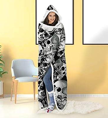 "ALISISTER Soft Fleece Hooded Blanket Unisex 3D Printed Wearable Nap Travel Throw Blankets 60""X 80"""