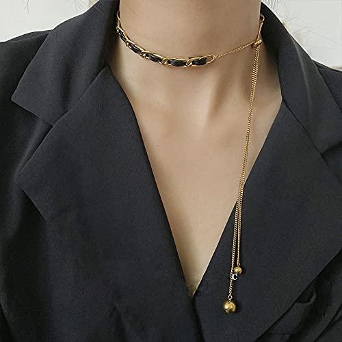 Collar Colgante Cadena Collares Hombre Mujer Collar Gargantilla De Cadena De Acero De Titanio, Collar para Mujer, Collares Góticos, Joyería Estética, Gargantilla De Fiesta para Chi