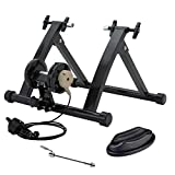 Walmann Bike Trainer Stand for Indoor Exercise Magnetic Resistance Trainer Stand 6 Variable Speed Level with Front Wheel Riser Block and Quick Release Stationary Bike Stand for Road & Mountain Bikes