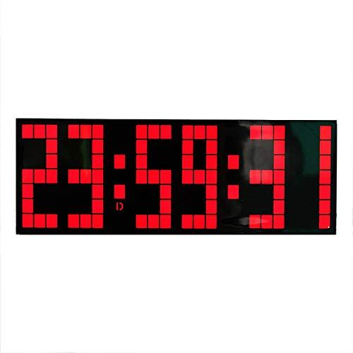 HttKse Stoppuhr Durable LED Snooze-Wand-Schreibtisch-Wecker Multi Functional Fernbedienung Count Down Perfekt für Fitness-Studio (Color : Black, Size : 24X8.5X5.5CM)
