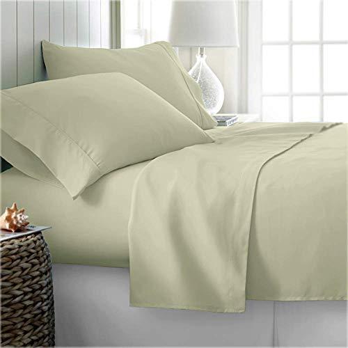 Juego de sábanas de 4 piezas EGYPTIAN COTTON KING (sábana ajustable, sábana plana, 2 fundas de almohada) Sábanas suaves de 600 hilos de bolsillo profundo, ropa de cama europea premium marfil