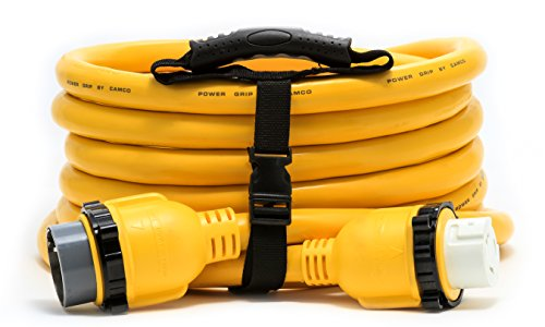 Camco 25' PowerGrip Marine Extension Cord with 50M/50F Locking Adapters | Allows for Easy Boat Connection to Distant Power Outlets | Built to Last (55621)