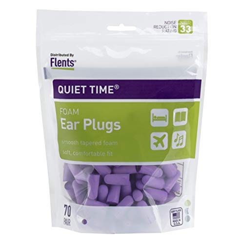 Flents Ear Plugs, 70 Pair, Ear Plugs for Sleeping, Snoring, Loud Noise, Traveling, Concerts, Construction, & Studying, NRR 33, Purple