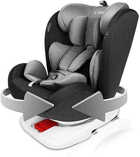 Asiento de coche de bebé asiento de coche es adecuado para 0-12 años de edad rotativos,Black Grey