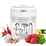 Wireless Electric Mini Food Garlic Chopper 250ML, Kuopry Kitchen Food Chopper and Blender USB Charging Fits for Cutter Vegetables/Meat Grinder/Garlic Chooper/Fruits Masher/Fruit Salad Grinder-White