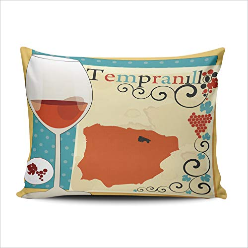 BERLK Pillowcases Tempranillo French Red Wine with Art Leafs 20x26 Inch Standard Throw Pillow Cover Case Hidden Zipper One Sided Design Printed