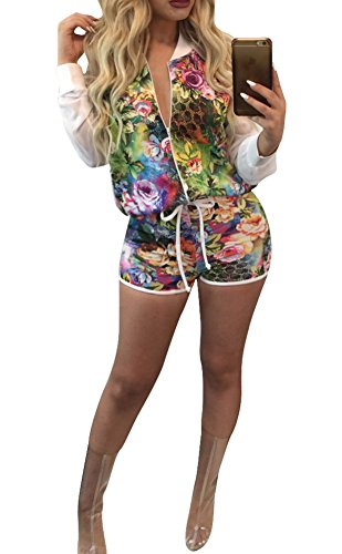 Playworld Women's Hawaii Floral Printing 2 Piece Jacket Suit Tracksuit Outfit