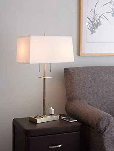 Kenroy Home Kenroy 35255AB Two Light Table Lamp from Amina Collection 17.50 inches, Antique Brass