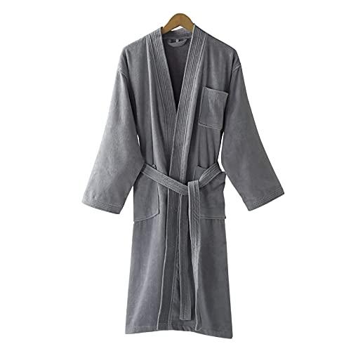 Unisex męskie damskie 100% luksusowa bawełna super miękka frotte szlafrok szlafrok damski szlafrok ręcznik szlafrok bielizna nocna podomka z kieszeniami i paskami, szary, L